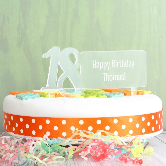 Personalised Acrylic 18th Birthday Cake Topper