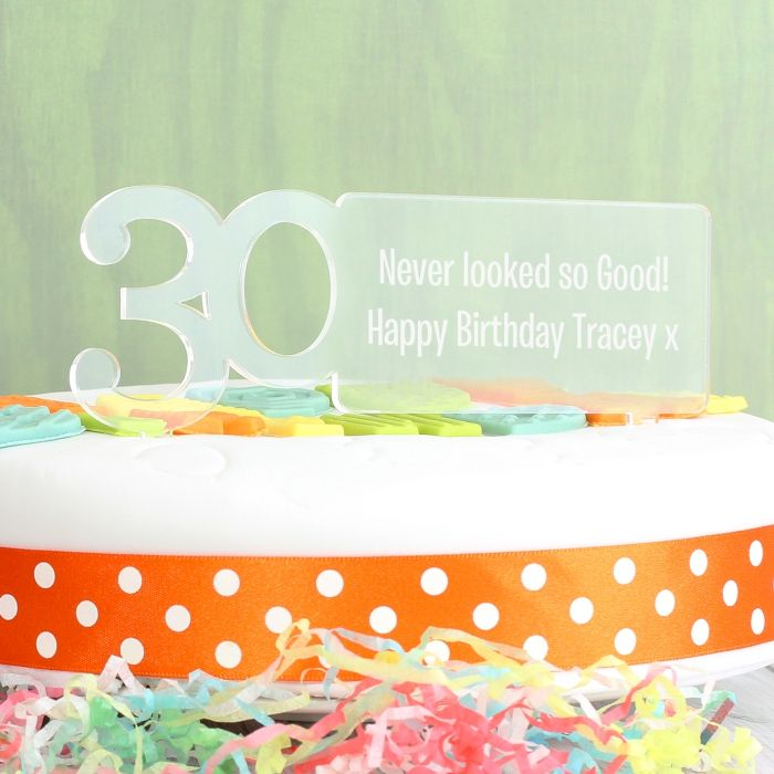 Personalised Acrylic 30th Birthday Cake Topper