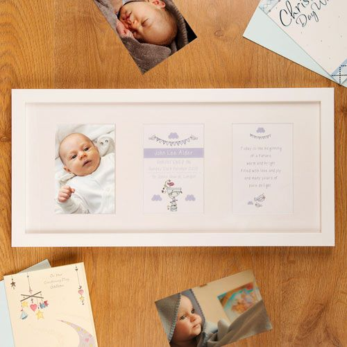 Personalised Baby Christening Frame Bird Design