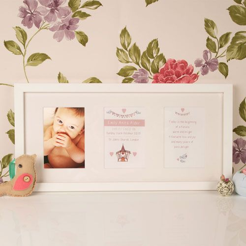 Personalised Baby Christening Frame Church Design
