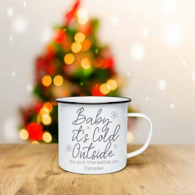 Personalised Baby It's Cold Outside White Enamel Mug