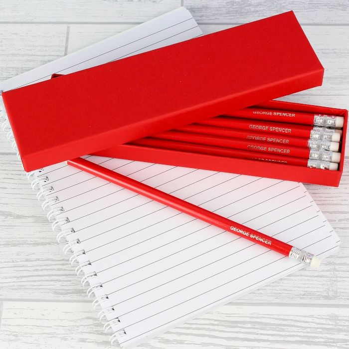 Personalised Box of Red Pencils