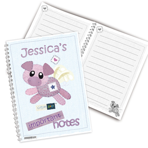 Personalised Cotton Zoo Organza the Pig Notebook