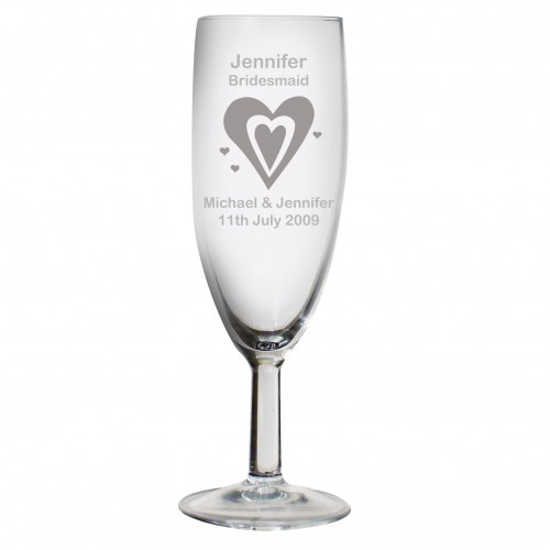 Personalised Designer Champagne Flute-Hearts