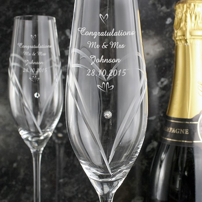 Personalised Hand Cut Pair of Diamante Flutes with Swarovski Elements