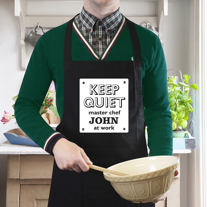 Personalised Keep Quiet Black Apron