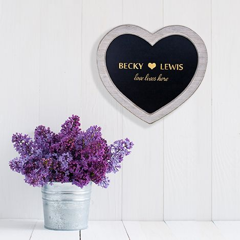 Personalised Love Lives Here Heart Chalkboard Sign