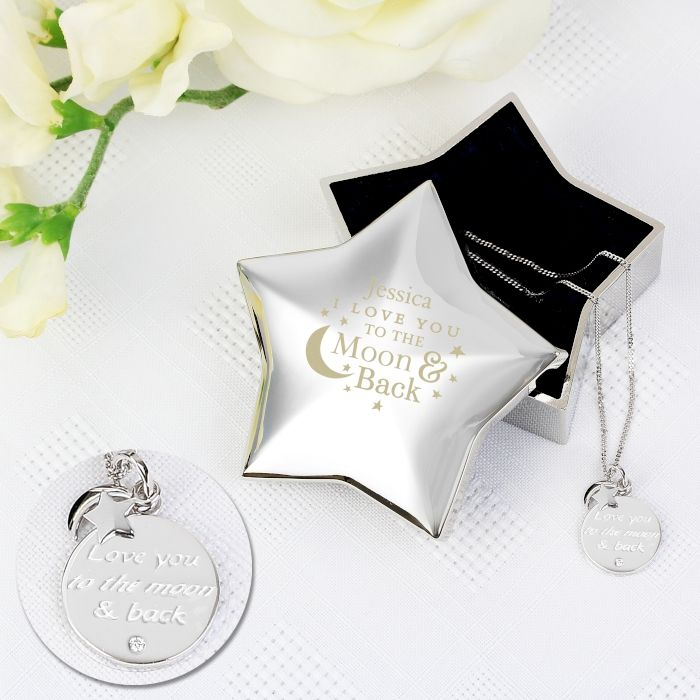Personalised Moon and Back Star Trinket Box & Silver Pendant Gift Set