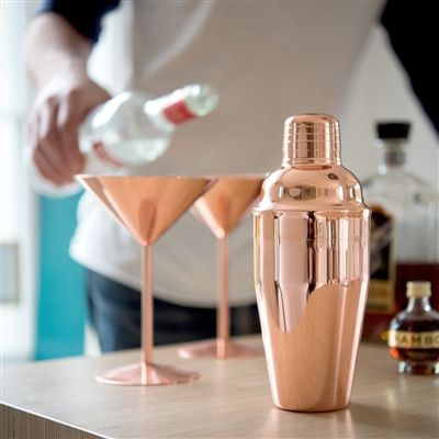 Personalised Rose Copper Cocktail Shaker