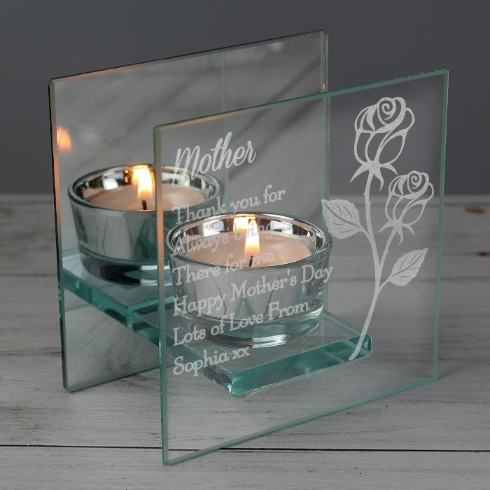 Personalised Rose Mirrored Glass Tea Light Holder