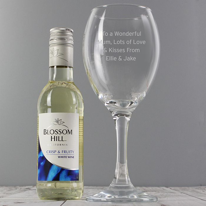 Personalised White Wine & Any Message Wine Glass Set